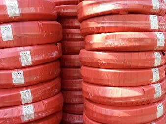 A lot of rolls fuel oil hose packing with weaving bags