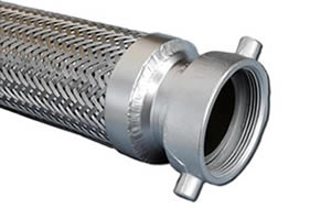 A metal hose with screw thread fitting