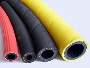 4 different diameter water hose: two black color water hoses, one yellow water hose and one red water hose