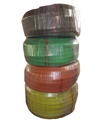 Four rolls different color water hose is packed with plastic film