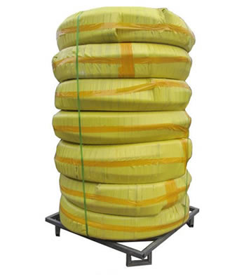 7 rolls water hose are fastened on a metal pallet with plastic rope